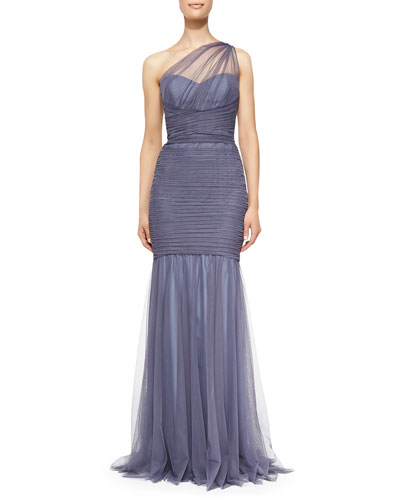 Amsale One-Shoulder Draped Mermaid Gown, Periwinkle