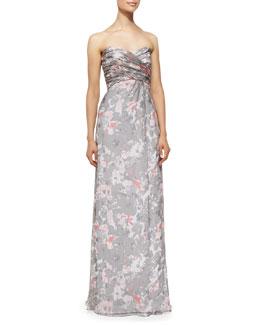 Amsale Strapless Printed Gown, Graphite