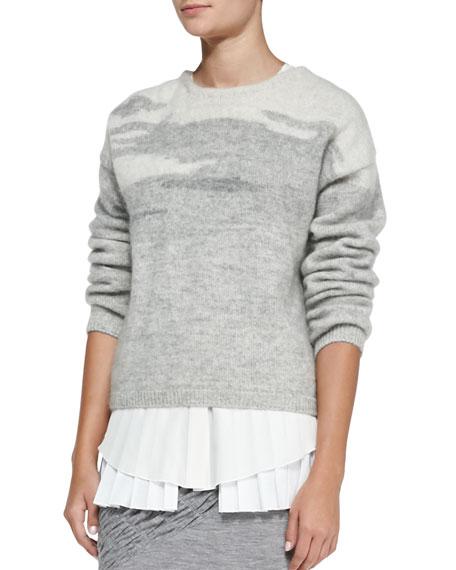 Long-Sleeve Crewneck Sweater, Gray Multi