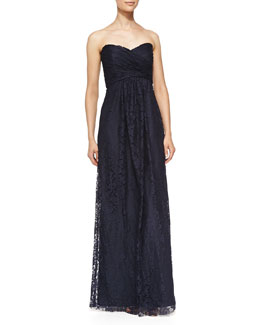 Amsale Strapless Ruched Lace Gown