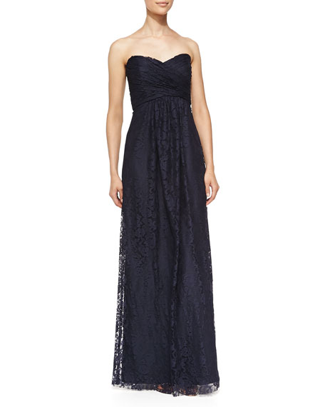 Strapless Ruched Lace Gown