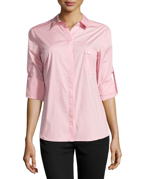 Long-Sleeve Button-Front Poplin Blouse, Cameo