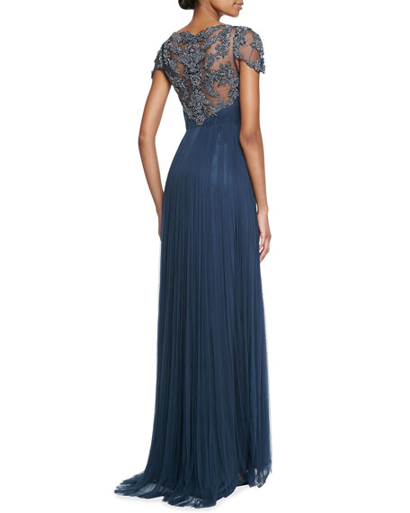 Zandra Cap-Sleeve Beaded-Bodice Gown