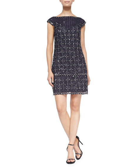 Short-Sleeve Sequined Mesh Cocktail Dress