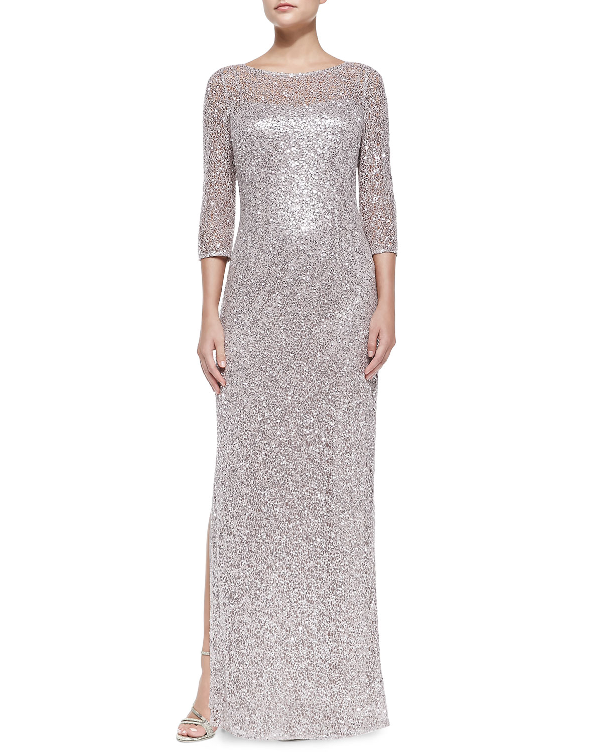 10defa71895 Kay Unger New York Sequined Lace Overlay Gown