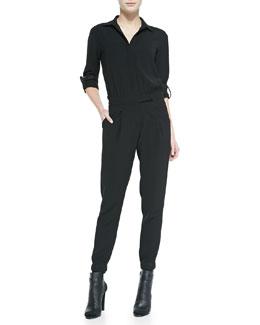 Vince Long-Sleeve Button-Down Jumpsuit