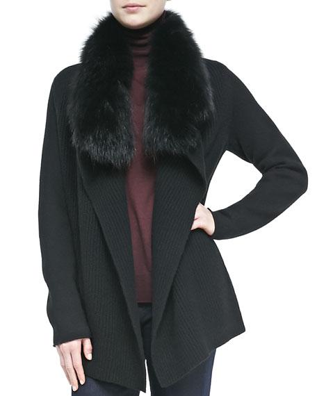 Fur-Collar Knit Drape Cardigan