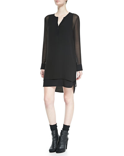 Vince Long-Sleeve Double-Layer Shirttail Dress, Black