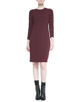 Vince 3/4-Sleeve Boucle Sheath Dress, Shiraz
