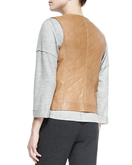 Quilted Leather/Fur Zip Vest