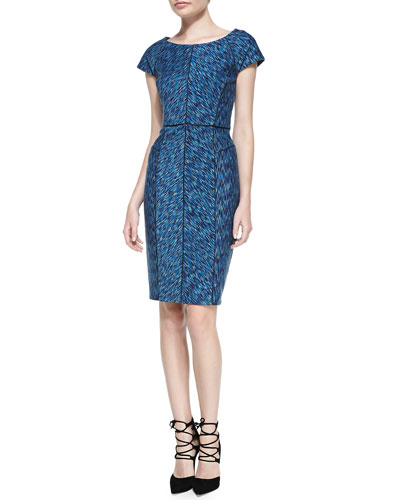 Laundry by Shelli Segal Printed Cap-Sleeve Dress W/ Seaming