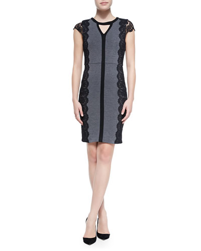 Laundry by Shelli Segal Colorblock Ponte Dress W/ Lace