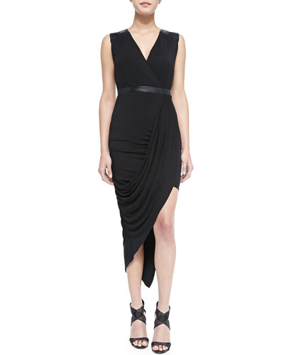 Laundry by Shelli Segal Asymmetric Draped Jersey Dress
