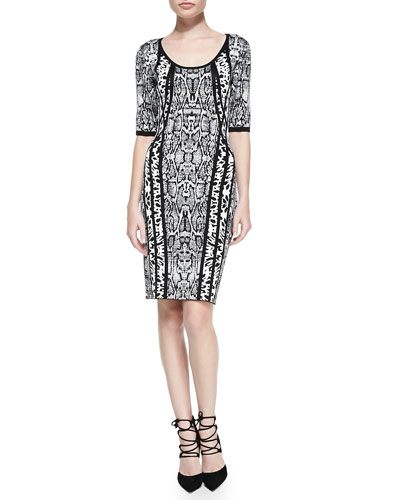 Laundry by Shelli Segal Half-Sleeve Animal-Print Sweater Dress