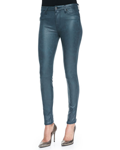 7 For All Mankind Seamed Leather Skinny Pants