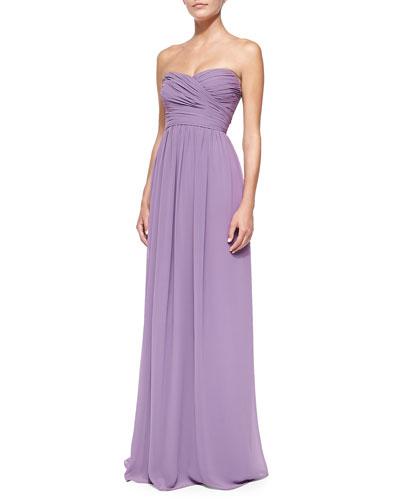 ML Monique Lhuillier Strapless Ruched-Bodice Gown, Violet