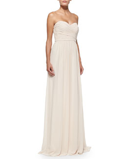 ML Monique Lhuillier Strapless Ruched-Bodice Gown, Blush
