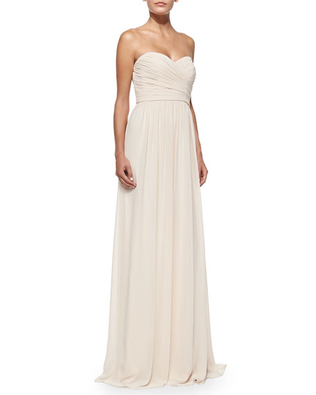 Strapless Ruched-Bodice Gown, Blush