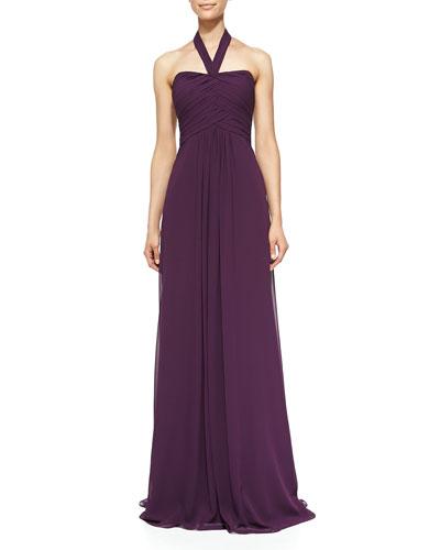 Monique Lhuillier Bridesmaids Halter Woven Ruched-Bodice Gown, Plum
