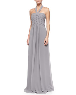 ML Monique Lhuillier Halter Woven Ruched-Bodice Gown, Slate