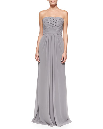 Monique Lhuillier Bridesmaids Strapless Draped Ruched-Bodice Gown, Slate