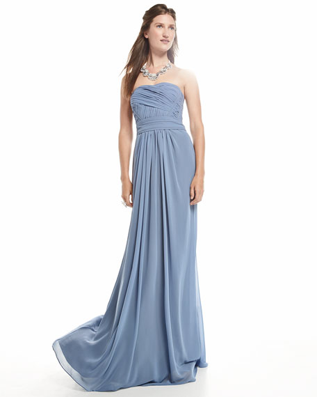 Strapless Draped Ruched-Bodice Gown, French Blue