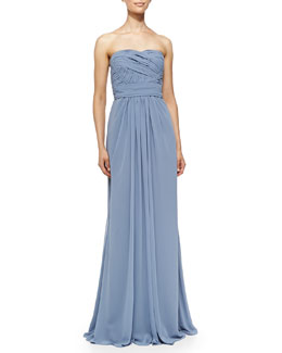 ML Monique Lhuillier Strapless Draped Ruched-Bodice Gown, French Blue