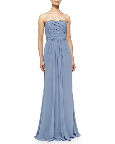 Monique Lhuillier Bridesmaids Strapless Draped Ruched-Bodice Gown, French Blue