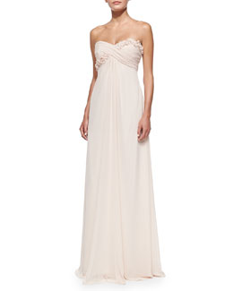 ML Monique Lhuillier Draped Ruched & Ruffled-Bodice Gown, Blush