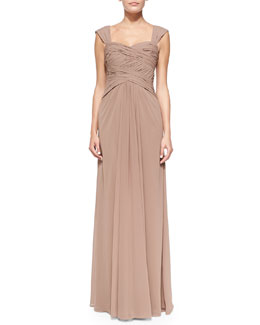 ML Monique Lhuillier Sleeveless Ruched Bodice Gown, Latte
