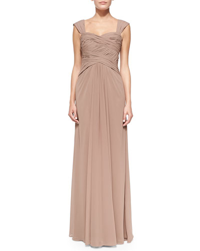 Monique Lhuillier Bridesmaids Sleeveless Ruched Bodice Gown, Latte