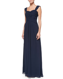 ML Monique Lhuillier Sleeveless Ruched Bodice Gown, Electric
