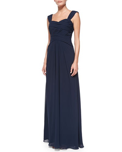 Monique Lhuillier Bridesmaids Sleeveless Ruched Bodice Gown, Electric