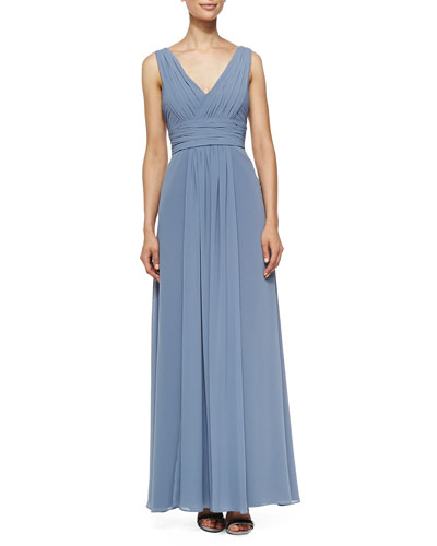 Monique Lhuillier Bridesmaids Sleeveless Deep V-Neck Gown, French Blue