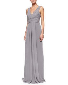Monique Lhuillier Bridesmaids Sleeveless Deep V-Neck Gown, Slate