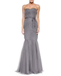 ML Monique Lhuillier Strapless Ruched Tulle Gown, Slate