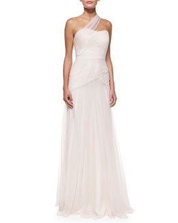 ML Monique Lhuillier One-Shoulder Draped Tulle Gown, Blush