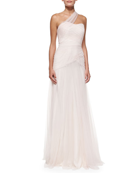 Monique Lhuillier Bridesmaids One-Shoulder Draped Tulle Gown,