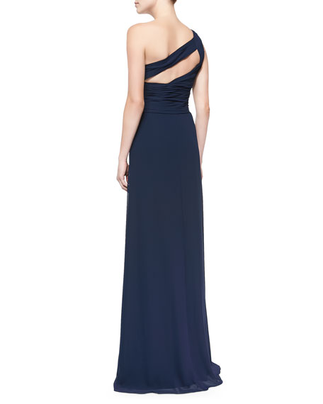 One-Shoulder Overlay Gown, Electric