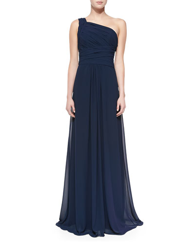 Monique Lhuillier Bridesmaids One-Shoulder Overlay Gown, Electric