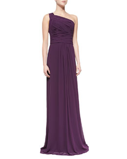 ML Monique Lhuillier One-Shoulder Overlay Gown, Plum