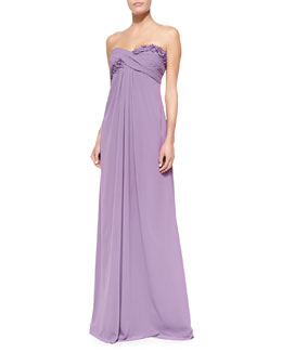 ML Monique Lhuillier Draped Ruched & Ruffled-Bodice Gown, Violet