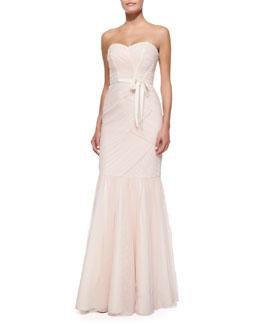 Monique Lhuillier Bridesmaids Strapless Ruched Tulle Gown, Blush