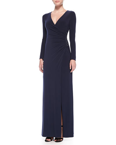 Laundry by Shelli Segal Long-Sleeve Beaded-Side Gown