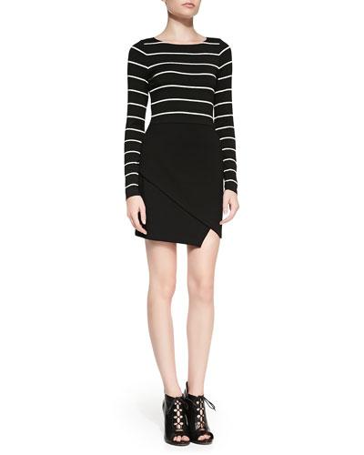 Bailey 44 Long-Sleeve Combo Dress w/ Scissor-Hem