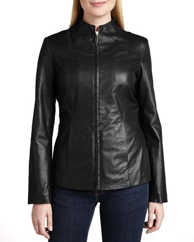 Neiman Marcus Basic Solid Scuba-Style Jacket