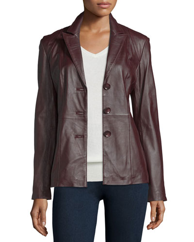 Neiman Marcus Basic Solid Leather Blazer