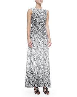 BCBGMAXAZRIA Chloey Sleeveless Drip-Paint Maxi Dress
