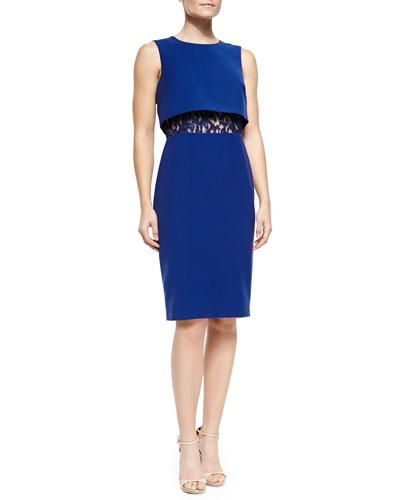 BCBGMAXAZRIA Sleeveless Popover Top Lace-Torso Dress