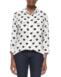 Equipment Signature Broken Hearts-Print Blouse